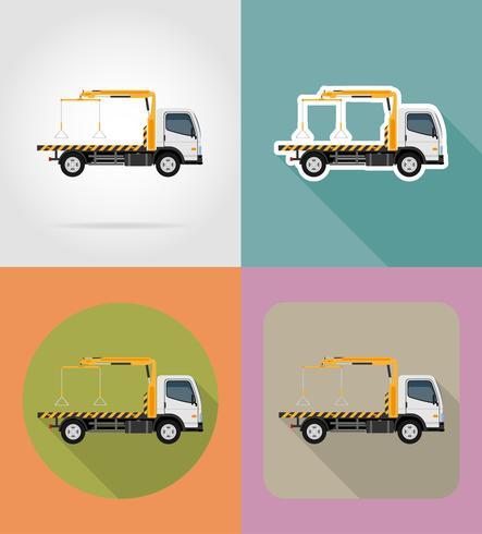 dépanneuse pour les fautes de transport et voitures d'urgence icônes plates vector illustration