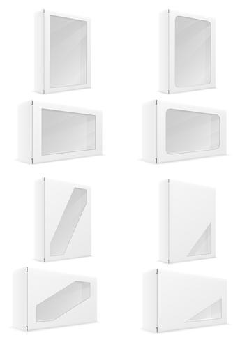 caja de cartón de papel blanco embalaje conjunto iconos vector illustration