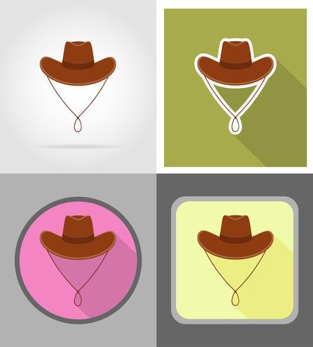 cowboy hat wild west flat icons vector illustration