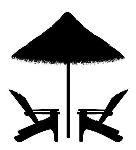 poltrona de praia e guarda-chuva contorno preto silhueta ilustração vetorial vetor