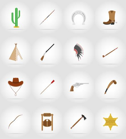 wild west flat icons vector illustration