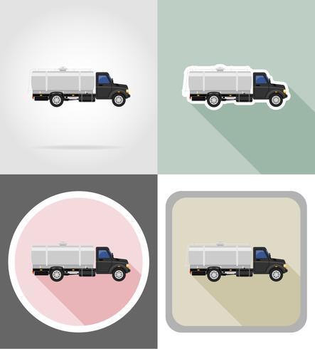 LKW mit Tank für den Transport von Flüssigkeiten flache Ikonen Vektor-Illustration vektor