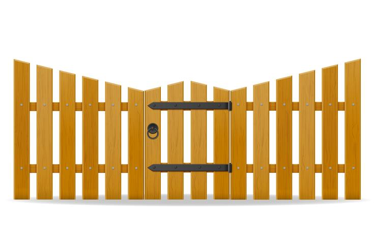 cerca de madeira com ilustração vetorial de porta wicket vetor