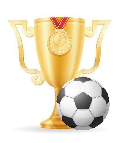 voetbal beker winnaar gouden voorraad vector illustratie