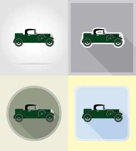 old retro car flat icons vector illustration