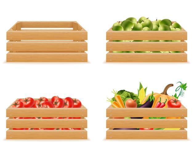 definir a caixa de madeira com legumes frescos e saudáveis vector a ilustração