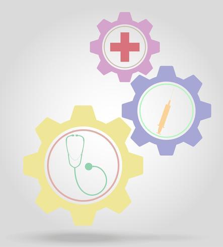 Medicina engranaje mecanismo concepto vector illustration