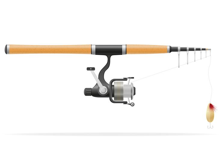rod spinning for fishing vector illustration