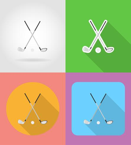 golf club and ball flat icons vector illustration
