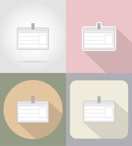 Tarjeta de identificación iconos planos vector illustration