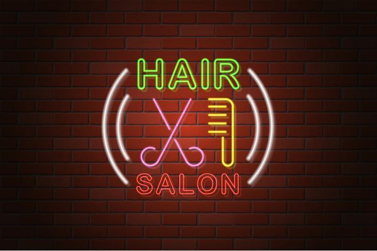 Ilustración de vector de salón de pelo de letrero de neón brillante