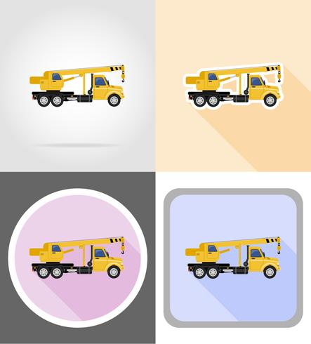 truck with crane for lifting goods flat icons vector illustration