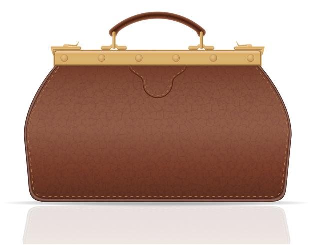 leather valise travel with constipation vector illustration