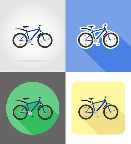 Ilustración de vector de iconos planos de bicicleta de montaña
