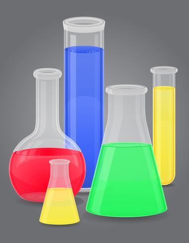 provetta di vetro con illustrazione vettoriale liquido di colore
