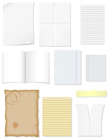 conjunto de folhas em branco de papel para ilustração vetorial de design