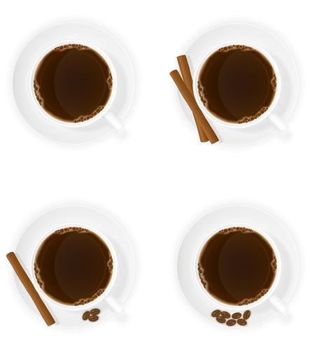 cup of coffee with cinnamon sticks grain and beans top view vector illustration
