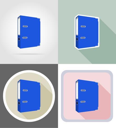 Equipo de papelería carpeta set iconos planos vector illustration