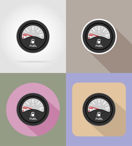 Ilustración de vector de iconos planos de indicador de nivel de combustible