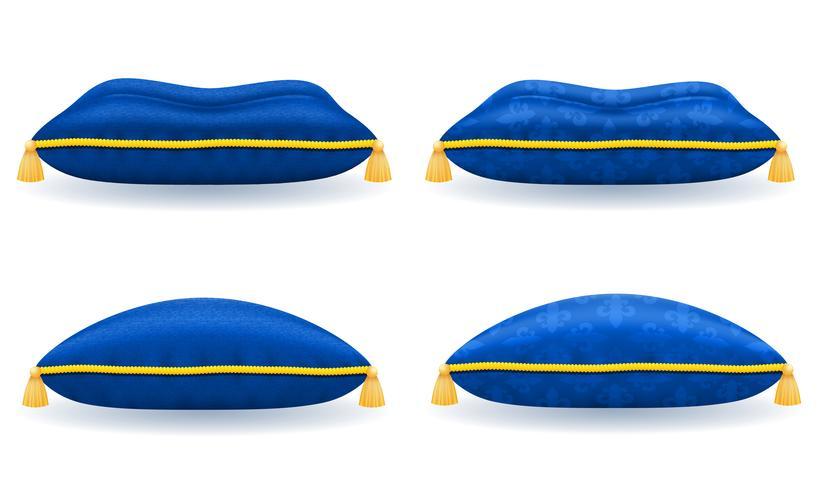 blue satin velvet pillow with gold rope and tassels vector illustration