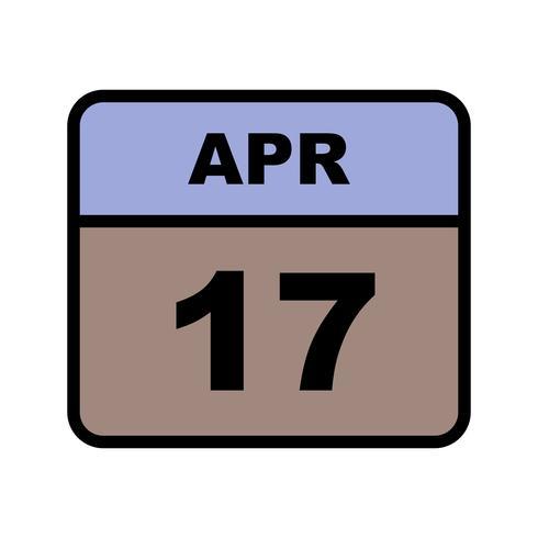 17 aprile Data su un calendario per un solo giorno