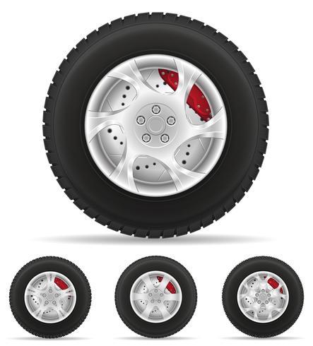 establecer iconos rueda de coche neumático de la ilustración de vector de disco