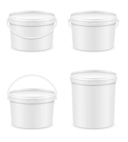balde de plástico branco para ilustração vetorial de pintura