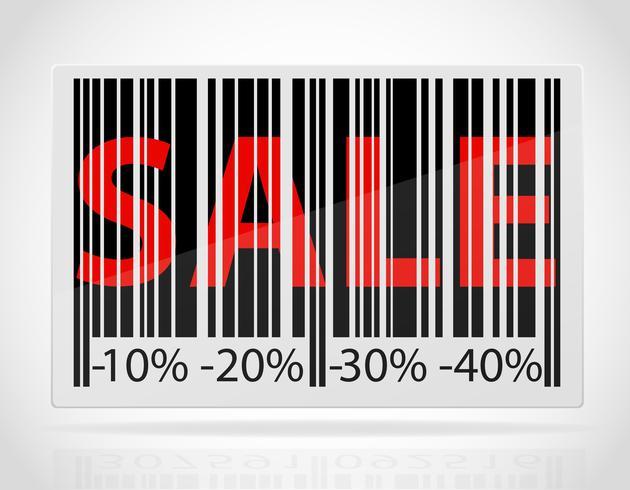 código de barras com a venda de palavra e descontos como ilustração vetorial de porcentagem
