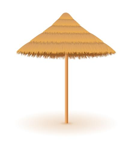 beach umbrella made of straw and reed for shade vector illustration