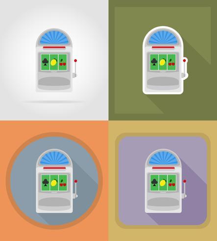 objets de machine à sous casino et illustration de plat icônes équipement