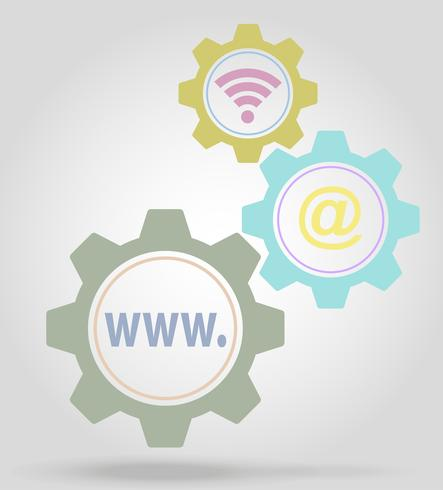 internet gear mechanism concept vector illustration