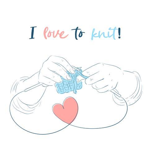 Hands with knitting needles Handmade. Vector illustration