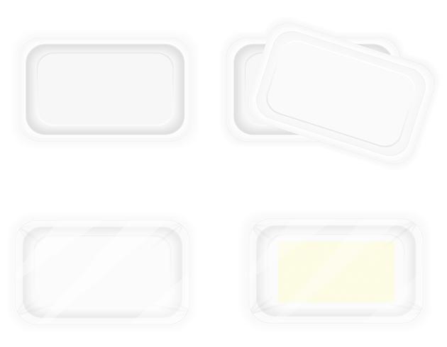 embalagem de recipiente de plástico branco para ilustração vetorial de comida
