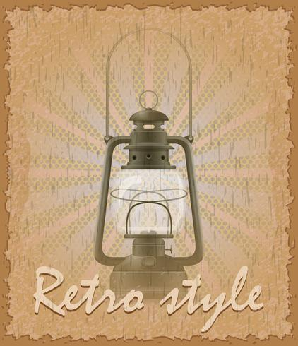 retro style poster old candeeiro de querosene vector illustration