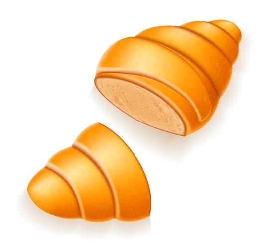 Croissant crocante a ilustração vetorial quebrado