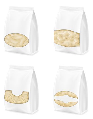 boulettes de pâte avec une garniture en emballé set icônes vector illustration