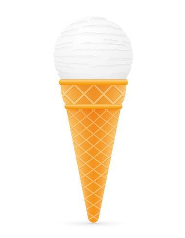 Bola de helado en la ilustración de vector de cono de waffle