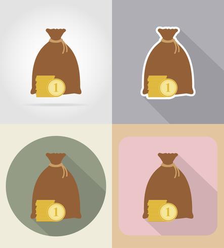 Bolsa de dinero iconos planos vector illustration