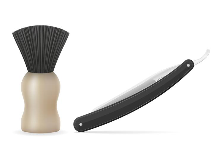 straight razor and shaving brush vector illustration