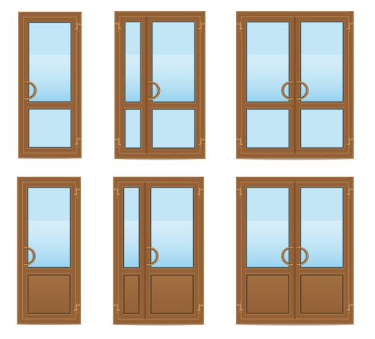 bruine plastic transparante deuren vectorillustratie