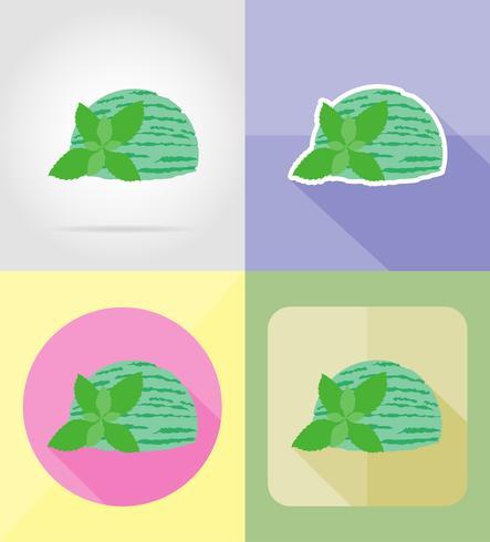 ijs plat pictogrammen vector illustratie