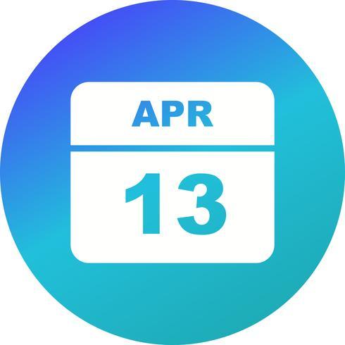 April 13th Date on a Single Day Calendar vector