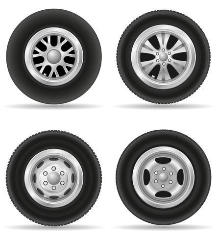 Stellen Sie Ikonenrad für Autovektorillustration ein