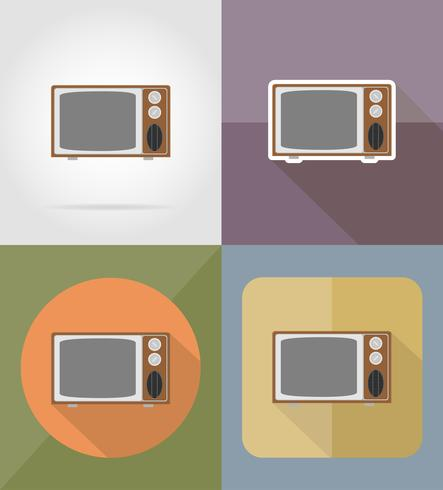 oude retro tv plat pictogrammen vector illustratie