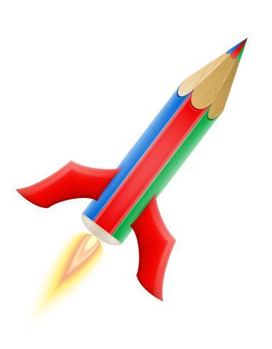 Ilustración de vector de arte creativo lápiz concepto cohete