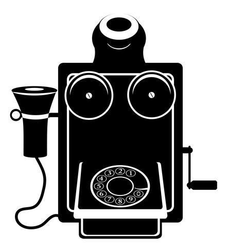 Vektor-Illustrationsschwarz-Entwurfsschattenbild der alten Retro- Weinleseikone des Telefons
