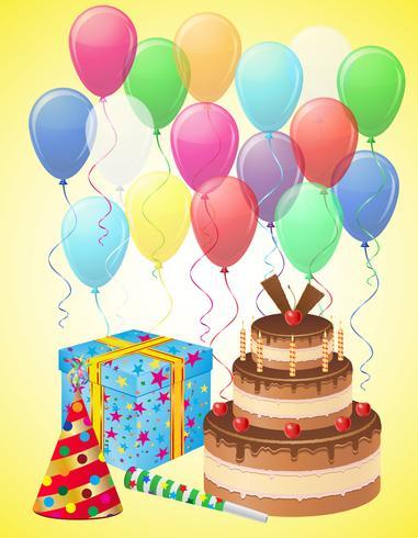 stel pictogrammen voor verjaardag vectorillustratie