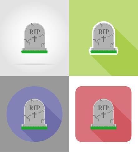 icone piane tomba di Halloween illustrazione vettoriale