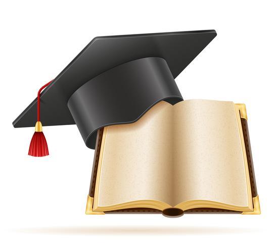 academische afstuderen mortarboard vierkante dop vector illustratie