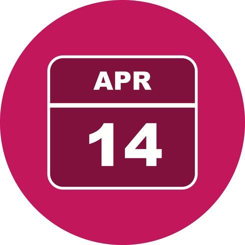 14 de abril Data em um calendário de dia único